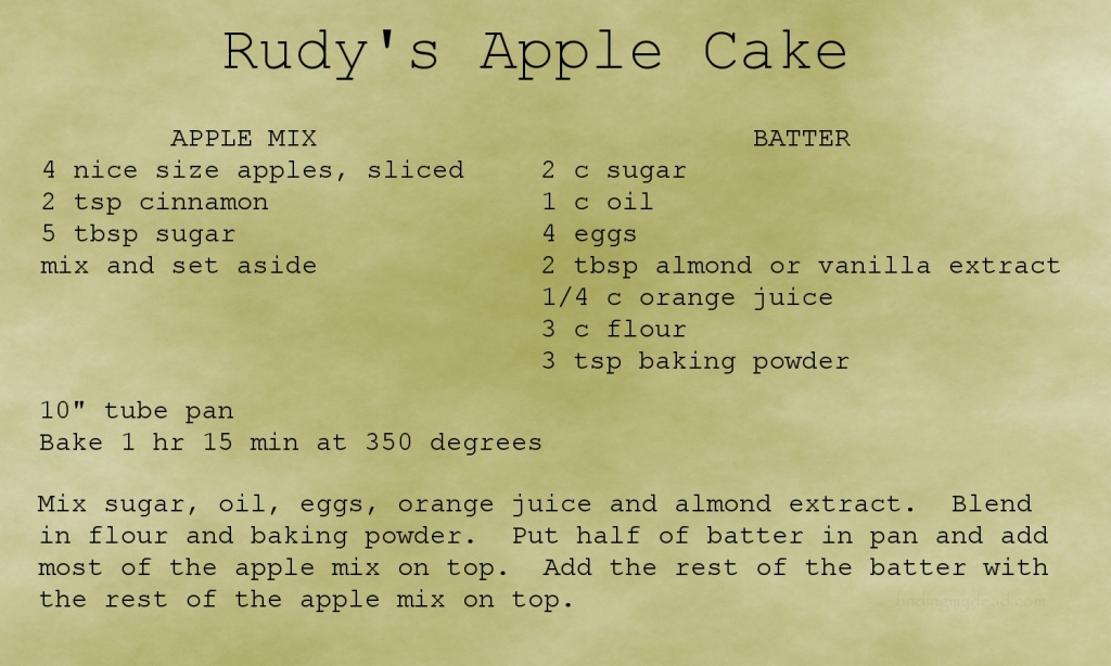 George R. Nahodil's wonderful recipe for apple cake.