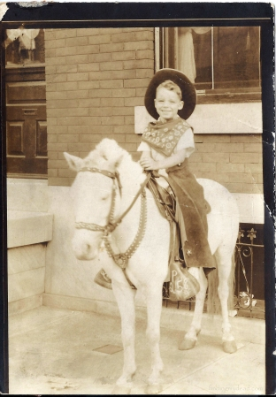 Little Howard Wetzel (ca 1940).  The Strawberry Mansion (Philadelphia) photographer often used ponies in photos of young children.