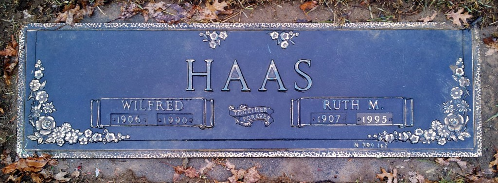 Grave marker of Wilfred and Ruth (Wintrode) Haas