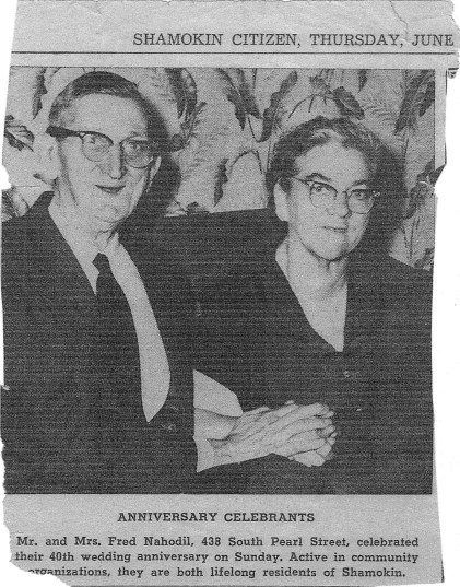 40th wedding celebration announcement published in the Shamokin Citizen on June 2, 1960. Today is the 93rd anniversary of their marriage.