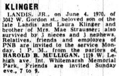 Obituary for Landis Klinger JR as published in The Philadelphia Inquirer on 06/07/1970.