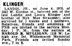 Obituary for Landis Klinger JR as published in The Philadelphia Inquirer on 06/07/1970.