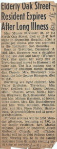 Obituary of Minnie (Derk) Strausser